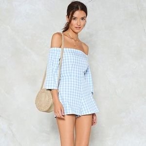NWT In The Park Gingham Romper by Nastygal